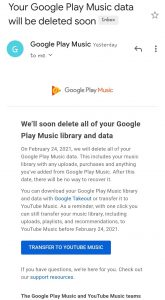 Google play music alert